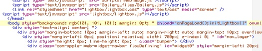 The code inserted into the Body section of iWeb