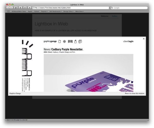 Lightbox working in iWeb