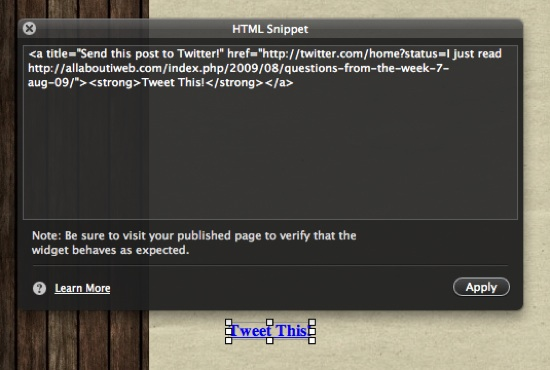 insert_html_snippet_tweet_me_iweb
