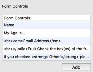 Form Control Customizations
